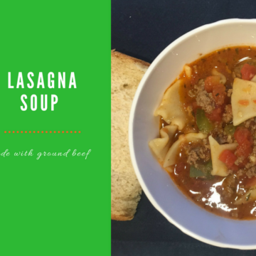 Hearty Lasagna Soup made with lasagna noodles, grass fed ground beef, and more. It's the perfect, heart soup for a cold day