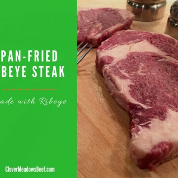 Pan Fried Ribeye Steak. All you need is a skillet and stove, and you'll be eating steakhouse-like steak in less than 20 minutes   Clover Meadows Beef