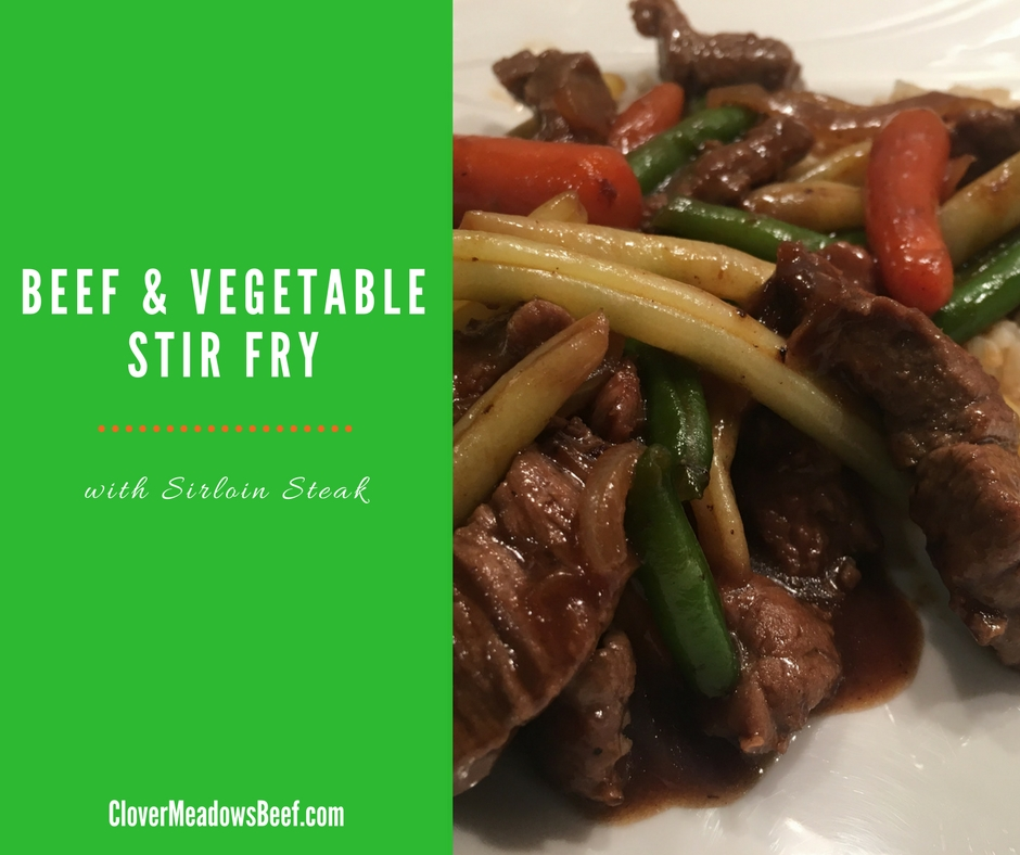 Beef and Vegetable Stir Fry - Quick One Skillet Dinner - Clover Meadows Beef Grass Fed Beef Free Delivery