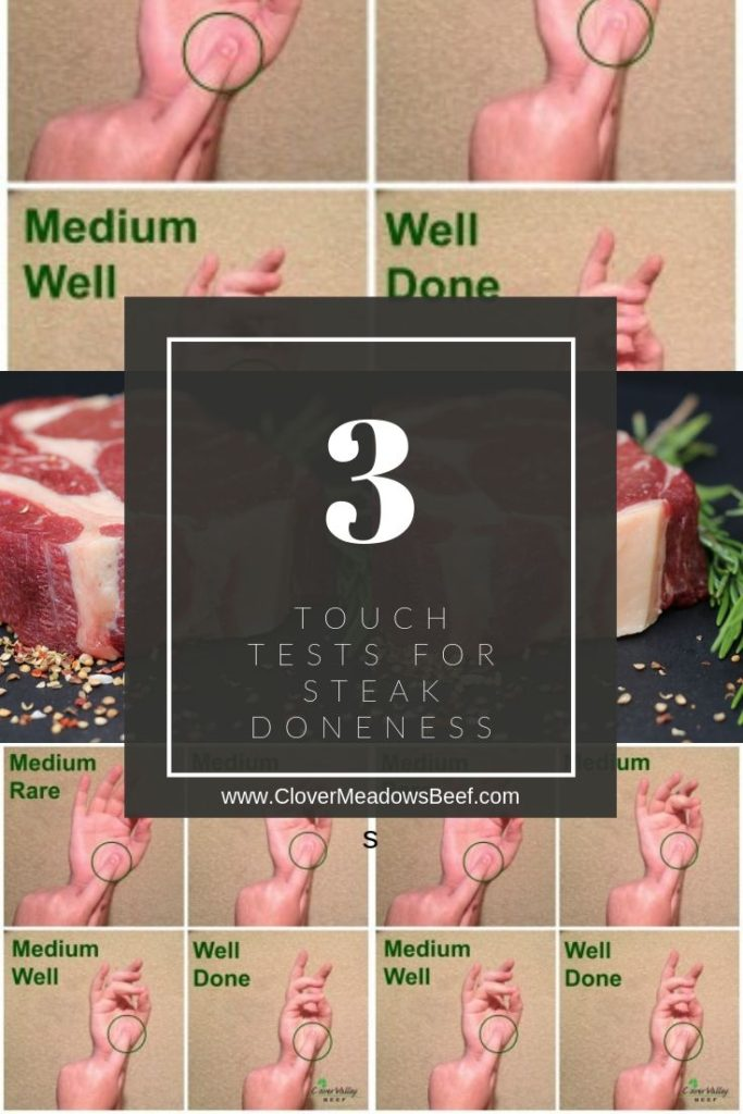Is my steak done. Testing for steak doneness with finger test and digital meat thermometer | Clover Meadows Beef Grass Fed Beef