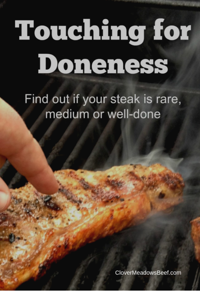 Steak Doneness. Touch Test Finger Test and Digital Meat Thermometer Testing Steak Temperature