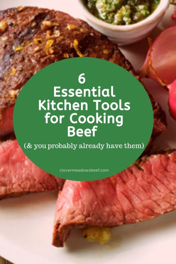 6 Essential Kitchen Tools for Cooking Beef - Cast Iron Skillet, Digital Thermometer, Kosher Salt, Chef's Knife, Wood Cutting Board, BBQ Grill Tool Set. Clover Meadows Beef | Grass Fed Beef | St. Louis STL