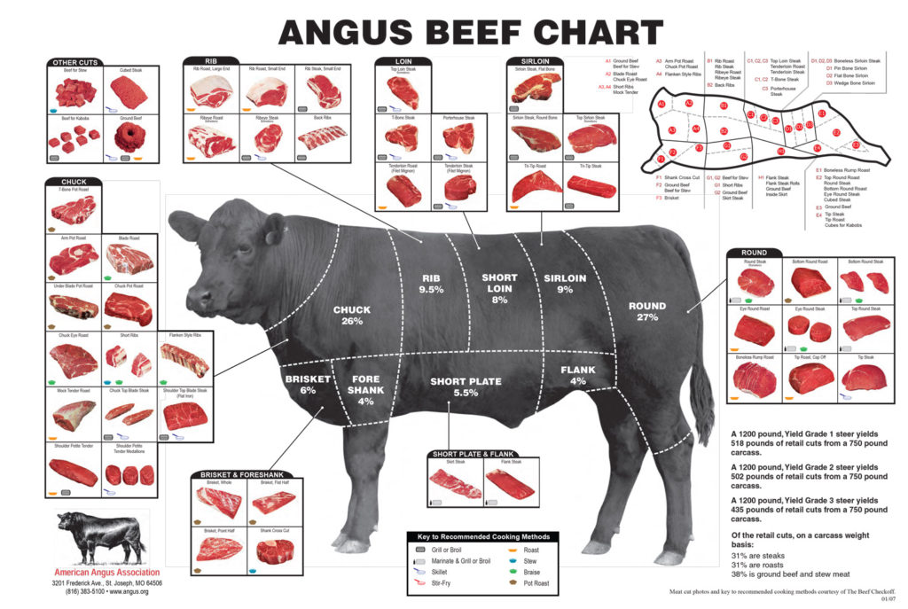 Beef Cut Butcher Chart with Cuts of Beef